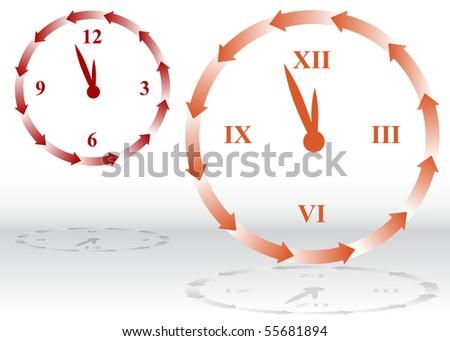 Backward Clock - stock vector