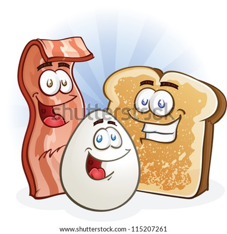 Bacon, Egg and Toast Cartoon Breakfast Characters - stock vector