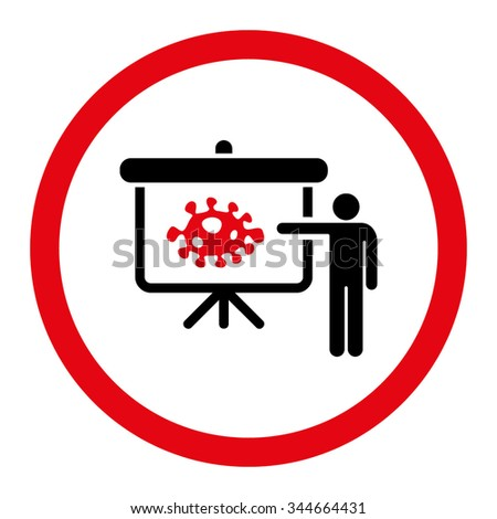 Bacteria Lecture vector icon. Style is bicolor flat rounded symbol, intensive red and black colors, rounded angles, white background. - stock vector