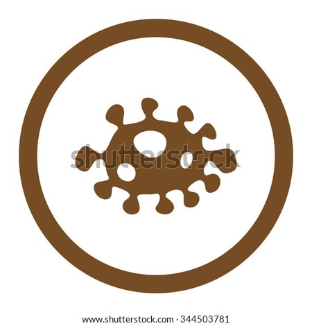 Bacteria vector icon. Style is flat rounded symbol, brown color, rounded angles, white background. - stock vector