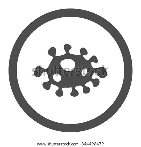 Bacteria vector icon. Style is flat rounded symbol, gray color, rounded angles, white background. - stock vector