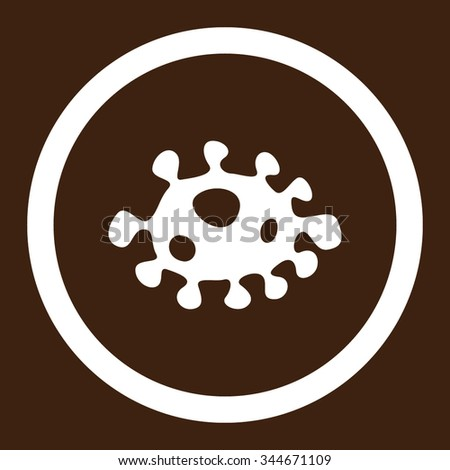 Bacteria vector icon. Style is flat rounded symbol, white color, rounded angles, brown background. - stock vector