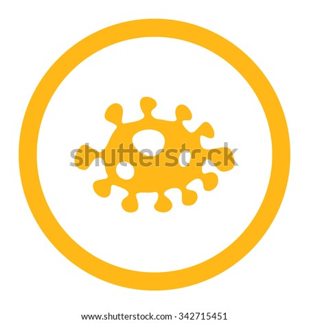 Bacteria vector icon. Style is flat rounded symbol, yellow color, rounded angles, white background. - stock vector