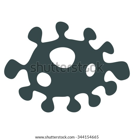Bacteria vector icon. Style is flat symbol, soft blue color, rounded angles, white background. - stock vector