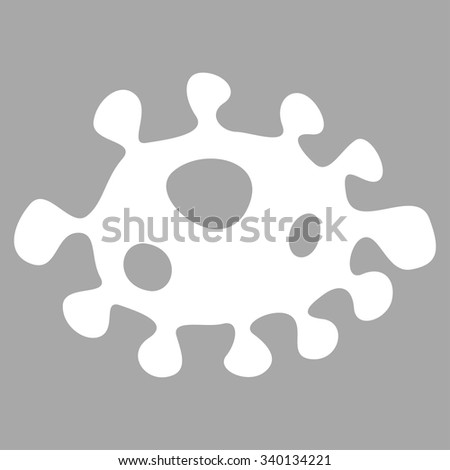 Bacteria vector icon. Style is flat symbol, white color, rounded angles, silver background. - stock vector