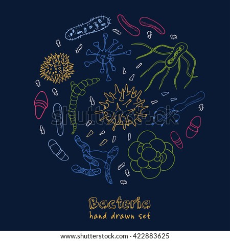 Bacteria virus icons set. Sketches. Hand-drawing. Vector illustration of for design and packages product. - stock vector