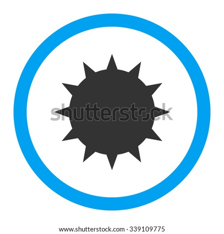 Bacterium vector icon. Style is bicolor flat rounded symbol, blue and gray colors, rounded angles, white background. - stock vector