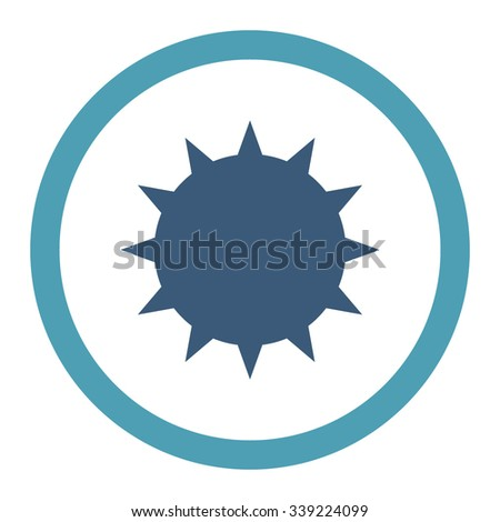 Bacterium vector icon. Style is bicolor flat rounded symbol, cyan and blue colors, rounded angles, white background. - stock vector