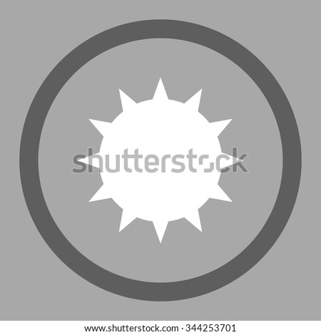 Bacterium vector icon. Style is bicolor flat rounded symbol, dark gray and white colors, rounded angles, silver background. - stock vector