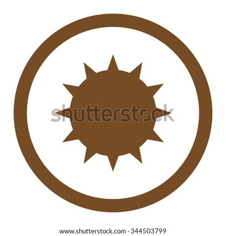 Bacterium vector icon. Style is flat rounded symbol, brown color, rounded angles, white background. - stock vector