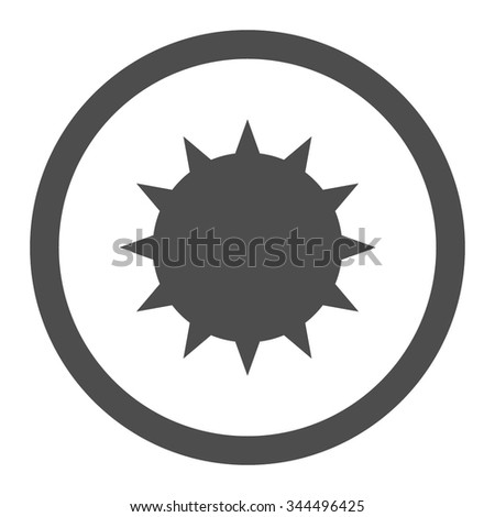 Bacterium vector icon. Style is flat rounded symbol, gray color, rounded angles, white background. - stock vector