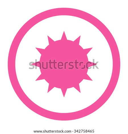 Bacterium vector icon. Style is flat rounded symbol, pink color, rounded angles, white background. - stock vector