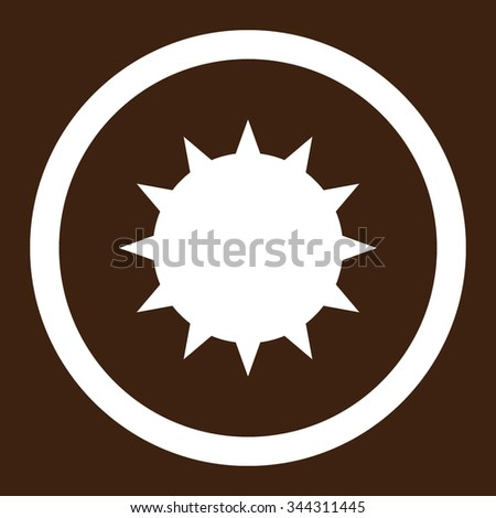 Bacterium vector icon. Style is flat rounded symbol, white color, rounded angles, brown background. - stock vector