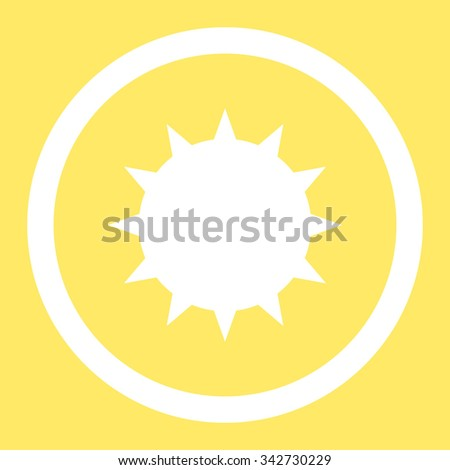 Bacterium vector icon. Style is flat rounded symbol, white color, rounded angles, yellow background. - stock vector