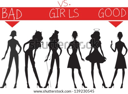 Bad and good girls silhouettes - stock vector