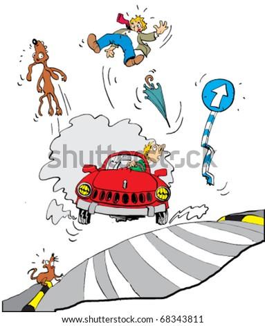bad driver - vector illustration - stock vector