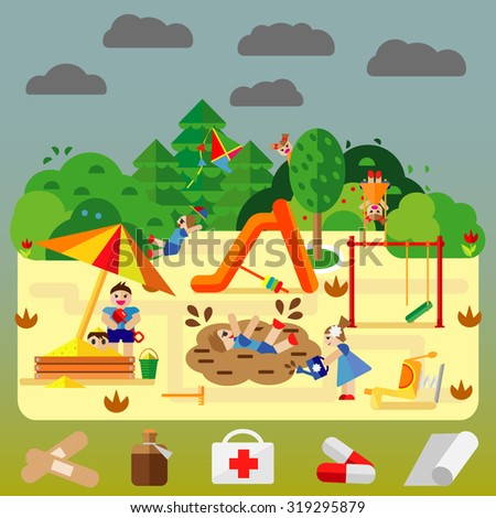 Bad kids playing on playground. Background with angry children. Flat style vector cartoon illustration. - stock vector