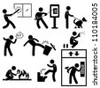 Bad Morale People Vandalism Gangster Icon Symbol Sign Pictogram - stock vector