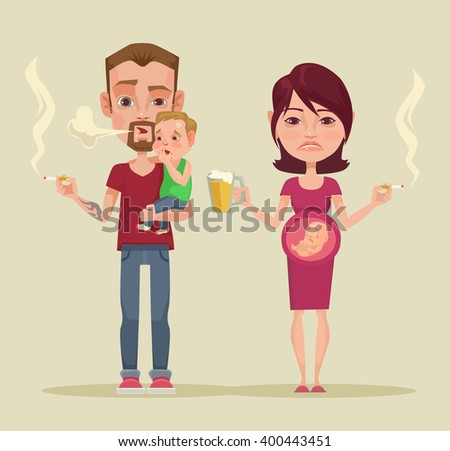 Bad parents. Vector flat illustration - stock vector