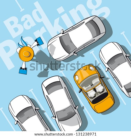 Bad parking. Illustration frustrated car owner who locked while she went shopping. - stock vector