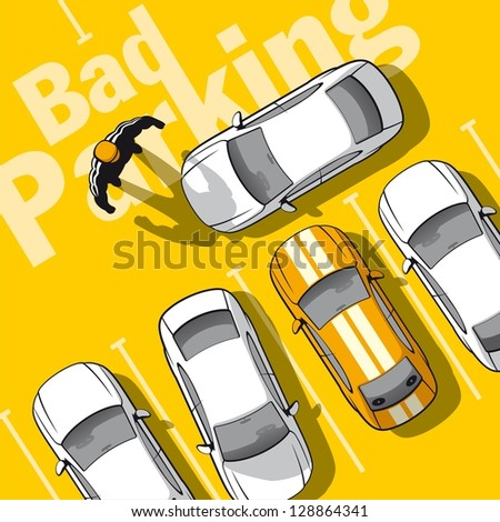 Bad parking. Illustration frustrated owner car that blocked the exit. - stock vector