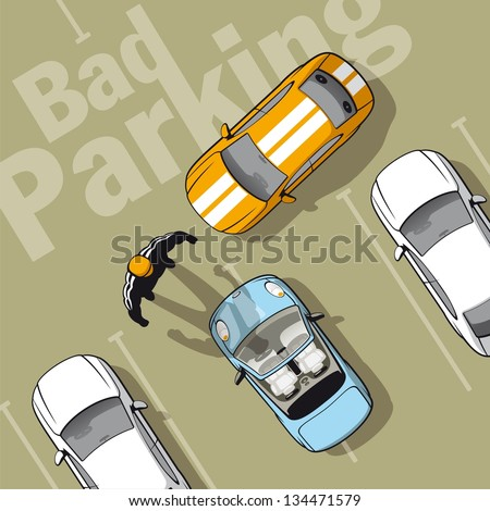 Bad parking. Illustration improperly parked car because that can not park properly others. - stock vector