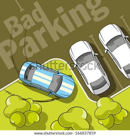 Bad parking. Top view of a car parked on the lawn with trees. - stock vector