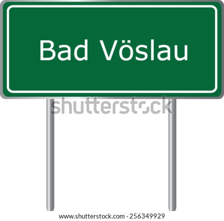 Bad Voslau, Austria, road sign green vector illustration, road table - stock vector