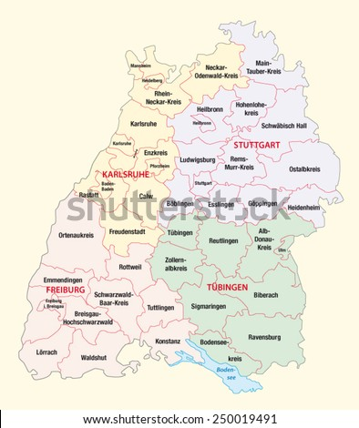 Baden Wurttemberg Administrative Map Stock Vector 250019491