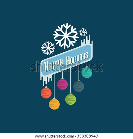 Badge for Christmas congratulation cards, flayers and banners with colorful round balls and snowflakes.