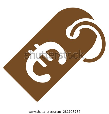 Badge from BiColor Euro Banking Icon Set. Vector style: flat, brown symbol, rounded angles, white background. - stock vector