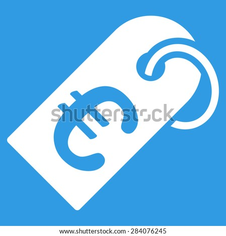 Badge from BiColor Euro Banking Icon Set. Vector style: flat, white symbol, rounded angles, blue background. - stock vector