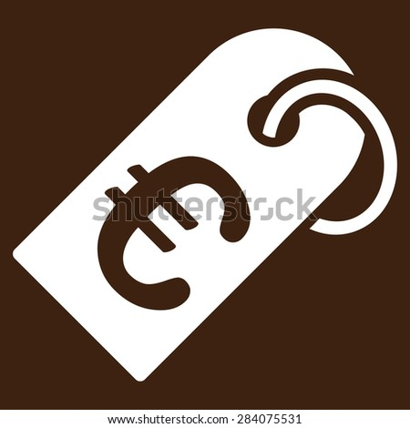 Badge from BiColor Euro Banking Icon Set. Vector style: flat, white symbol, rounded angles, brown background. - stock vector