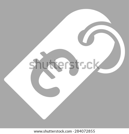 Badge from BiColor Euro Banking Icon Set. Vector style: flat, white symbol, rounded angles, silver background. - stock vector