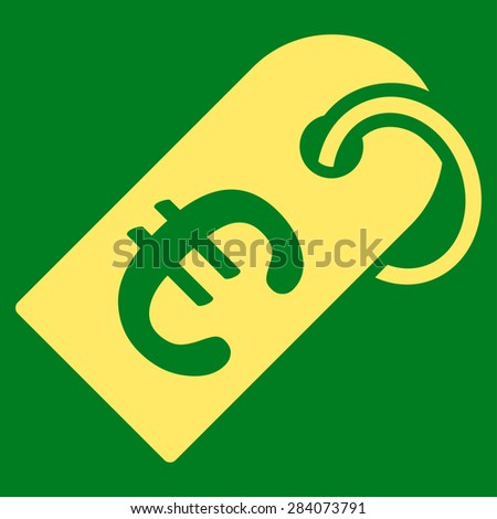 Badge from BiColor Euro Banking Icon Set. Vector style: flat, yellow symbol, rounded angles, green background. - stock vector