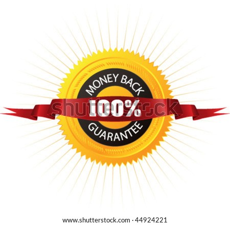 "Badge ""100% Money Back Guarantee"" for your online store, website or business artwork. Vector. - stock vector"
