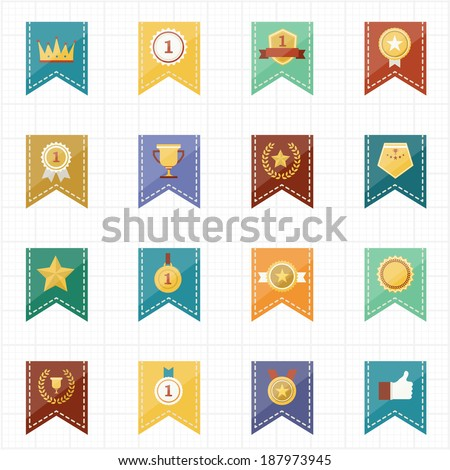 Badge Seal and Ribbon icons - stock vector