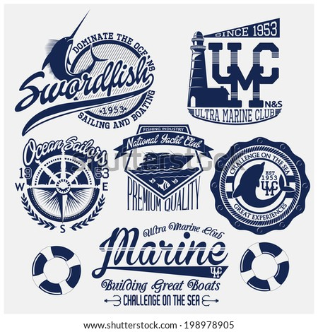 badge set and t-shirt graphic - stock vector