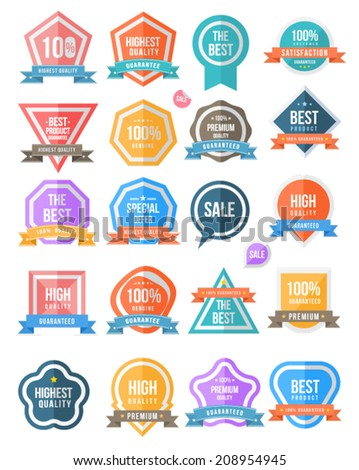 Badge set colour. For guaranteed, black ribbon, high quality, tag and banner. Can use for promote product or service. - stock vector