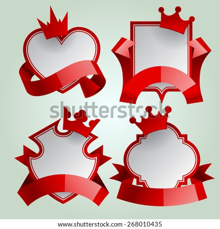 Badge set with red ribbon and paper crown. Retro design elements. Vector Illustration - stock vector