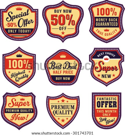 badge, shield and label sets - stock vector