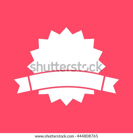 Badge white icon on magenta color background. Eps-10. - stock vector