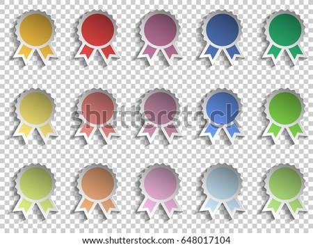 badge winner ribbon award colorful icon stock vector 648017104