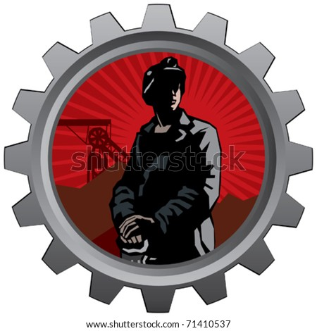 badge with coal miner with red sunrise background - stock vector