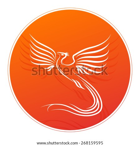 Badge with Phoenix bird silhouette and place for your text. Vector illustration. - stock vector