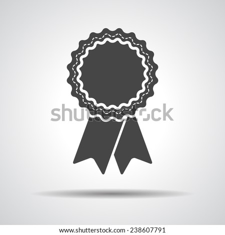 badge with ribbons icon - vector illustration - stock vector
