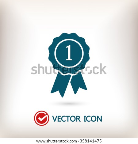 badge with ribbons icon, vector illustration. Flat design style - stock vector