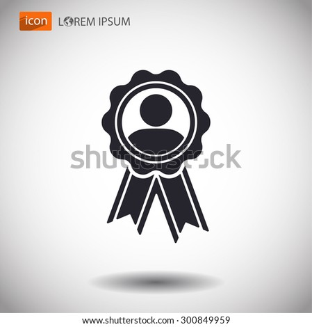 badge with ribbons man icon. Vector Eps 10 - stock vector