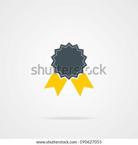 Badge With Ribbons or Award Icon. eps-10. - stock vector