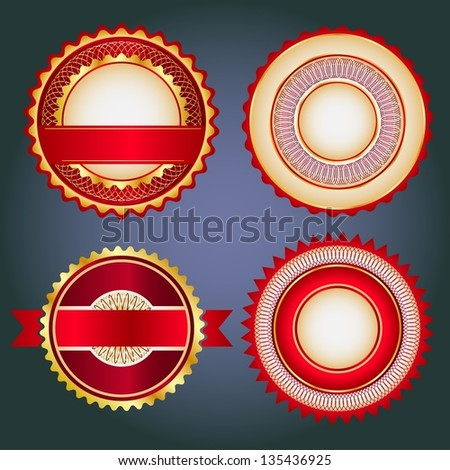 Badges, labels and stickers without text on retail. Designed in red colors. - stock vector